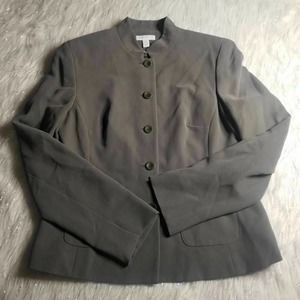 Charter Club Suit Jacket Gray 100% Silk Tailored 4